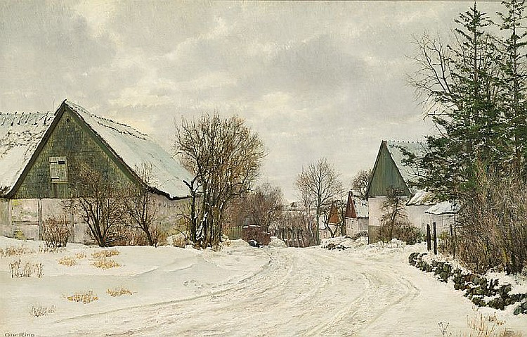 Ole Ring: Winter day in the village.