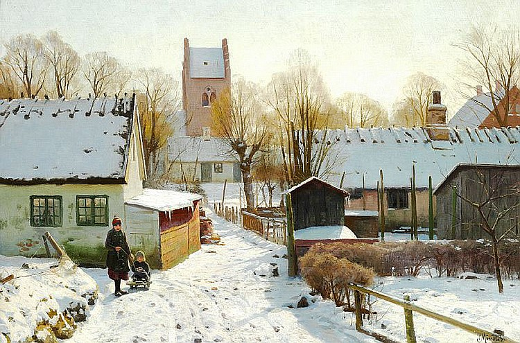 Peder Mønsted: Sunshine in the village on a winter day.
