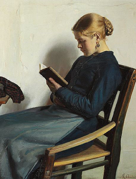 Michael Ancher: Young girl reading. 1885.