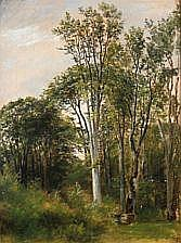 : C. F. Aagaard: Forest glade. Signed on the