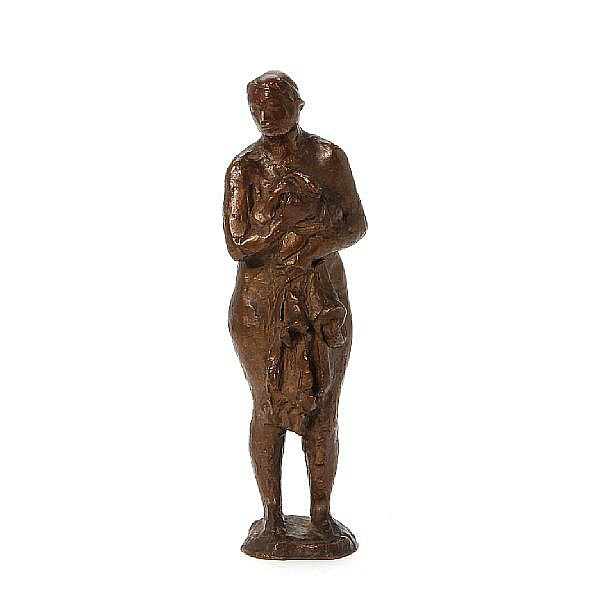 Christoph Voll: Standing girl (Mädchenakt). Sign. Voll. Patinated bronze. H. 27 cm.