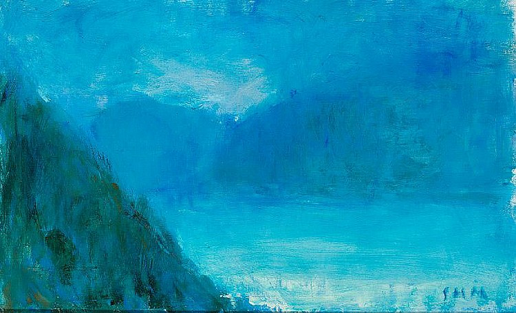 Sven Havsteen-Mikkelsen: Blue landscape. Signed SHM. Oil on canvas. 38 x 61 cm.