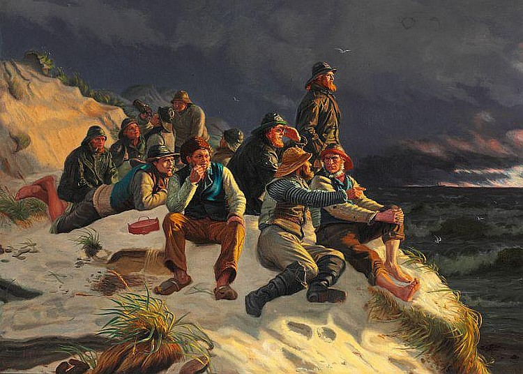 Michael Ancher: Stormy day with fishermen watching the ships passing by.