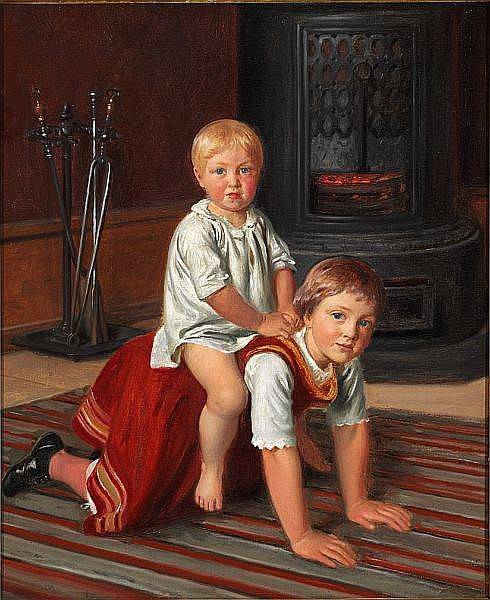 Constantin Hansen: The painter's girls Elise and Signe playing near the stove.