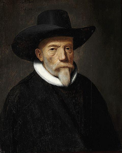 Thomas de Keyser, ascribed to: Portrait of a nobleman with a hat and white collar.