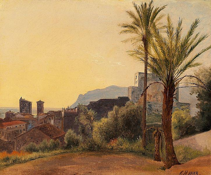 Constantin Hansen: Landscape from Terracina, evening.