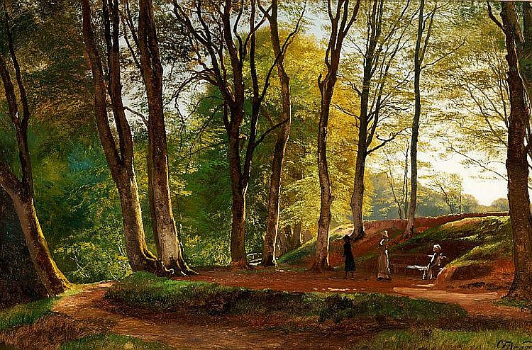 C. F. Aagaard: Summer day in Sæby Skov with three young ladies strolling.