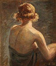 Frans Schwartz: A female model seen from the back.