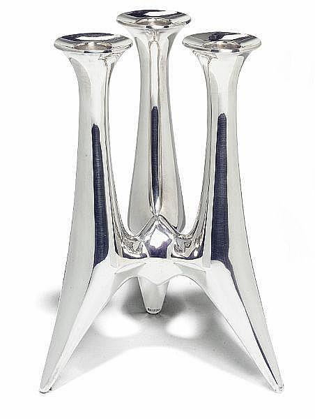 Bent Gabrielsen: Three arm sterling silver candlestick. H. 18,5 cm.