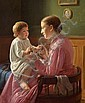 Constantin Hansen: From the painter's home. Thora C. H. dandles on her sister Signe's lap.