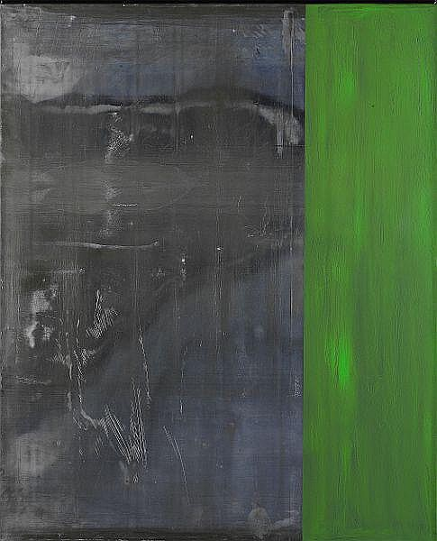 Günther Förg: Composition in green. Signed and dated on the reverse. Lead and acrylic on board. 110 x 90 cm.