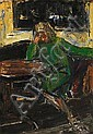 Mogens Andersen: Interior with seated woman. Signed on the reverse Mogens Andersen 1942. Oil on board. 175 x 123 cm., Mogens (1916) Andersen, Click for value