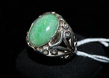 A Chinese Jadeite and Silver Set Gents Dress Ring,