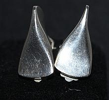 A Pair of Georg Jensen Sterling Silver Clip Back