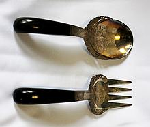 A Pair of Near Eastern Silver Gilt Mounted Ebony