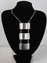 A Boxed Georg Jensen Three Segment Sterling Silver
