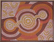 An Aboriginal Dot Painting painted with natural