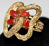 An Gold and  Coral Dress Ring,