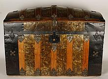 Antique Dome Topped Metal Skinned Trunk