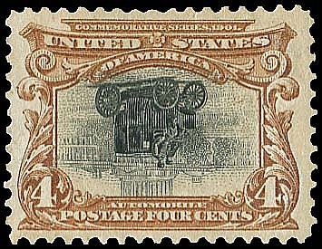 USA (296a) 1901 PAN-AMERICAN 4¢ DEEP RED BROWN & BLACK, CENTER INVERTED