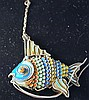 STERLING VINTAGE ENAMEL COY FISH
