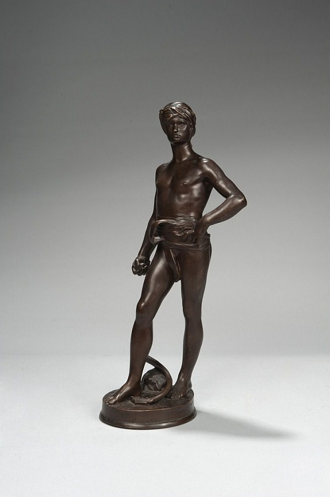Antonin MERCIE (1845-1916) « David avant le combat » Bronze à patine brune. Signé Mercié sur la terrasse. Inscription « F. Barbedi...