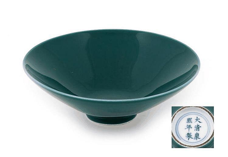 A CHINESE GREEN GLAZED CONICAL BOWL FORMAT