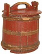 Primitive wood bucket w/lid, missing center band &