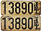 License plates (2), pr 1909 Illinois 5-digit,