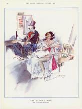 1936 Deco Print Creepy Clown & Deco Girl by Ratcliff