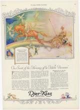 1922 DJER-KISS Deco Ad Pegasus Chariot, Fairies, Cupids