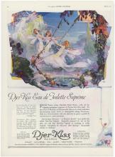 1921 DJER-KISS Deco Ad Fairies Swinging, Castle