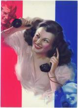 Rare Vintage ROLF ARMSTRONG WWII Pinup Print Army/Navy