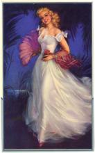 1950s Embossed Pinup ERBIT Young Girl with Feather Fan