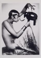 Vintage Risque Postcard JOSEPHINE BAKER Holding Mask