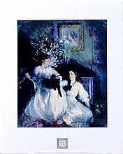 FRANK BRAMLEY Print-Confidences-Victorian Girls & Cats