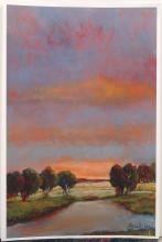Silkscreen Print Colorful Landscape at Sunset