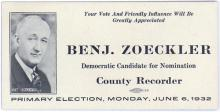 Vintage 1932 Iowa Election Blotter BENJAMIN ZOECKLER
