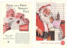 Vintage 1933 & 1957 Coca-Cola Ads Santa Claus Faces
