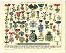 c1900 German Print MILITARY ORDERS/MEDALS From BROCKHAUS KONVERSATIONS-LEXIKON