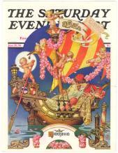 Old 1936 LEYENDECKER Cover - Fantasy Ship & Nude Cherubs/Angel Babies