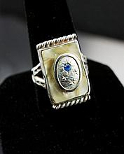 Unique Sterling Silver, Mother of Pearl, Mens Ring