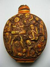 Carved Bone Snuff Bottle w/ 18 Rohan