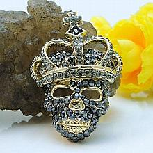 Swarovski Crystal Skull and Crown Brooch Pin