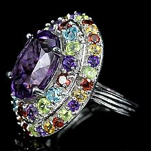 Huge Amethyst, Mixed Gemstone Ring