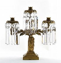 Classical Figural Gilt-brass Three-Light Girandole