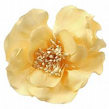 Vintage CHANEL Camellia Canvas Brooch