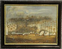 Oil on Board of 28th N.Y.V. Camp