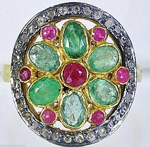 Victorian Rose Cut Diamond, Emerald, Ruby Ring