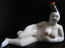 Ceramic Geisha-shaped Snuff Bottle.